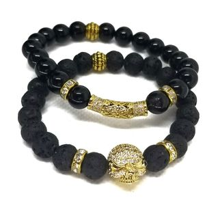 SKULL Head 8mm Black Lava Beads Unisex Gemstone